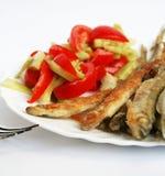 开胃菜外壳溶剂脱脂鱼粉沙拉熔炼 库存照片