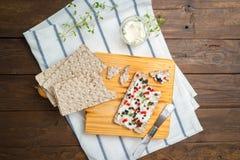开胃菜多士用乳酪、红色甜椒、橄榄和麝香草 库存照片