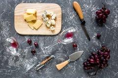 开胃菜帕尔马干酪、乳酪与蓝色模子和红葡萄在灰色石桌背景顶视图 库存照片
