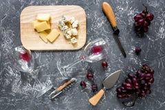 开胃菜帕尔马干酪、乳酪与蓝色模子和红葡萄在灰色石桌背景顶视图 库存图片