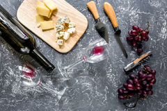 开胃菜帕尔马干酪、乳酪与蓝色模子和红葡萄在灰色石桌背景顶视图 免版税库存图片