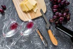 开胃菜帕尔马干酪和红葡萄在灰色石桌背景顶视图 图库摄影