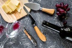 开胃菜帕尔马干酪和红葡萄在灰色石桌背景顶视图 库存图片