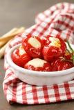 开胃菜开胃小菜甜椒充塞用乳酪 库存图片
