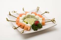 开胃菜抽烟的干酪三文鱼 图库摄影
