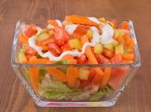 开胃菜沙拉用莴苣、蕃茄、红萝卜和腌汁 免版税图库摄影