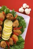 开胃菜油煎了盛肉盘南部的垂直 图库摄影