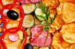 开胃菜混合牌照 库存图片