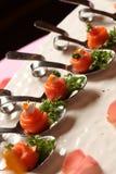 开胃菜熏制鲑鱼和奶油 免版税库存图片