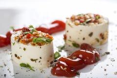 开胃菜用乳酪和各种各样的成份和西红柿酱 库存照片