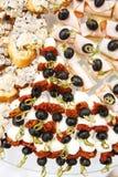 开胃菜用乳酪,各式各样的蕃茄 免版税库存图片