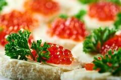开胃菜用红色鱼子酱和荷兰芹 免版税库存图片