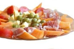 开胃菜用芒果和火腿 免版税图库摄影