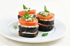 开胃菜用茄子和蕃茄 免版税图库摄影