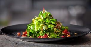 开胃菜用草本和石榴种子 免版税库存照片