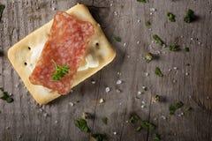 开胃菜用蒜味咸腊肠和乳酪 库存图片