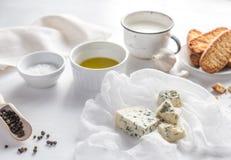 开胃菜用青纹干酪和油煎方型小面包片 免版税库存图片