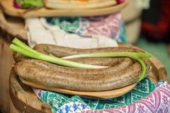 开胃菜用香肠和葱 库存图片