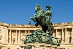 开胃菜的尤金王子雕象在维也纳 免版税图库摄影