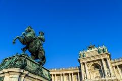 开胃菜的尤金王子雕象在维也纳 图库摄影