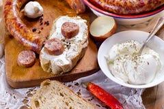 开胃菜的自创干,熏制的香肠或一顿可口膳食 免版税库存图片