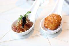 开胃菜的金枪鱼鞑靼和辣cheeseballs 免版税库存照片