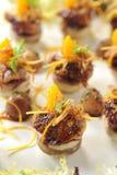 开胃菜精妙的法国鸭子炖用蜜桔 免版税库存图片