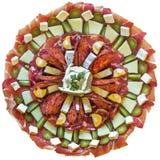 开胃菜美味盘在白色背景隔绝的Meze 库存图片