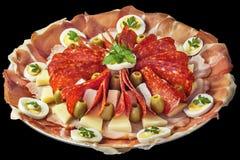 开胃菜美味盘在黑背景隔绝的Meze 免版税库存照片