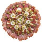 开胃菜美味盘Meze,隔绝在白色背景 免版税库存图片