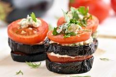 开胃菜茄子用蕃茄和乳酪 库存照片