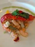 开胃菜虾、芹菜和各式各样的蕃茄 库存图片