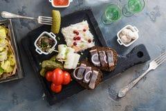开胃菜食物、鲱鱼和黑麦面包在木板用伏特加酒和腌汁 库存图片