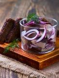 开胃菜食物、鲱鱼在玻璃和黑麦面包 图库摄影