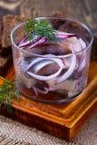 开胃菜食物、鲱鱼在玻璃和黑麦面包 免版税图库摄影