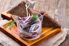 开胃菜食物、鲱鱼在玻璃和黑麦面包 库存图片