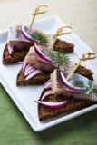 开胃菜食物,三明治用鲱鱼 库存照片