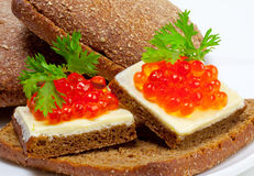 开胃菜鱼子酱红色 库存照片
