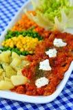 开胃菜,与ajvar的五颜六色的新鲜的沙拉 库存图片