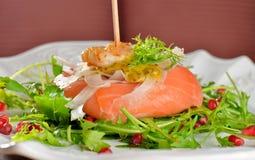 开胃菜,熏制鲑鱼用虾 图库摄影