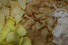 开胃菜,许多酥脆背景的类型 免版税库存图片