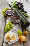 开胃菜-乳酪胡说的葡萄酒 库存照片
