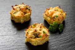 开胃菜-土豆松饼用鸡肉和乳酪 免版税库存照片