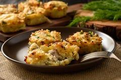 开胃菜-土豆松饼用鸡肉和乳酪 免版税库存图片