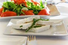 开胃菜-山羊乳干酪和新鲜的沙拉 免版税库存照片