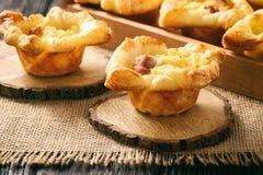 开胃菜-微型饼用土豆泥、烟肉和乳酪 图库摄影