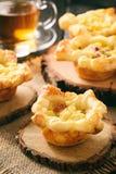 开胃菜-微型饼用土豆泥、烟肉和乳酪 库存照片