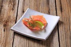 开胃菜-熏制鲑鱼 免版税库存照片