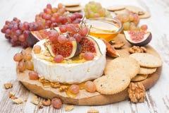 开胃菜-软制乳酪、蜂蜜、坚果、果子和薄脆饼干 库存图片
