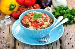 开胃菜& x28; salad& x29;烤茄子、胡椒、蕃茄、葱、大蒜和香菜 免版税库存图片